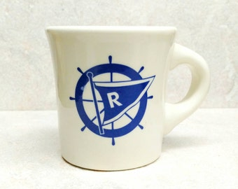 Vintage Coffee Mug Buffalo China Coffee Cup Restaurant Ware Blue and Ivory Nautical Rochester Yacht Club