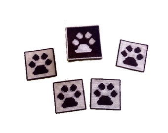 Brown and White Paw Print Coaster Set with Box