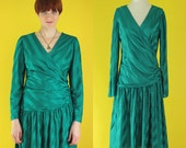 Vintage 80 Teal Dress - Striped Dress -  Wrap Dress - Long Sleeve Party Dress - Ruched Dress - 80s Does 20s Drop Waist Dress - Size Medium