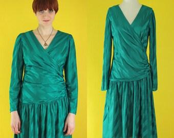 SALE: Vintage 80s Dress - Teal Dress - Wrap Dress - Long Sleeve Party Dress - Striped Dress - 80s Does 20s Drop Waist Dress - Size Medium