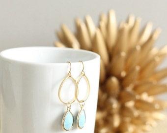 Gold Turquoise Tear Drop Gem Earrings Bridesmaid Wedding