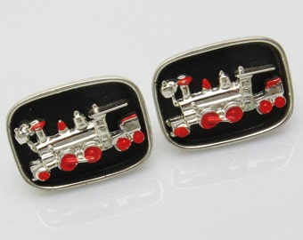 Large Train Cufflinks Red Black Enamel Engine H814