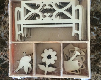 Wood Die Cuts - Laser Cut Outs - Garden Bench - Flower - Watering Can - Unfinished Embellishments - Wooden Box - 20 pcs