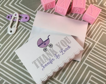 Personalized Baby Shower Thank You Cards with Lace Trim - Choose Your Color
