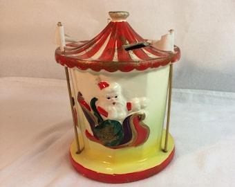 Vintage Santa Bank Carousel Unique