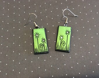 Green Handmade Polymer Clay Earrings.  Flowers with Swarvoski Crystal Centers.