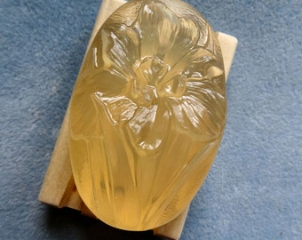 Handcrafted Honey Glycerin Bar Soap Pretty Oval 4 Oz Iris 10% Added  Grade A Honey Vegan Natural Clean