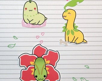 Chibi Chikorita/Bayleef/Meganium Stickers and Magnets