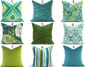 Outdoor Pillows Decorative Pillows Outdoor Pillow Covers ANY SIZE Pillow Cover Turquoise Pillows Peacock Outdoor Pillows You Choose