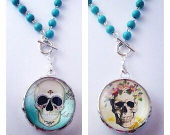 Sugar Skull Pendant - Soldered Pendant - Sugar Skull Jewelry - Dia De Los Muertos Jewelry - Glass Pendant - Day of the Dead