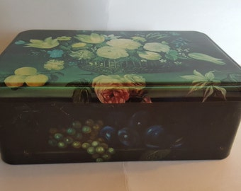 Vintage Massilly France Tin Box White and Blue Floral - Beautiful Graphics
