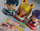 Sailor Moon Vintage Set (Sailor Moon, Mars, Mercury toy and Coloring book).