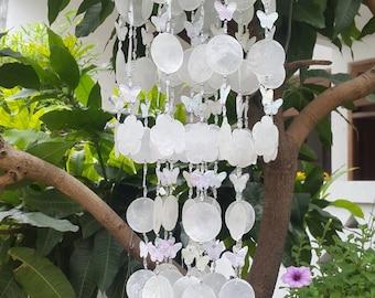 White Capiz Shells Butterfly Wind Chime Garden Decor / Beach Wedding Decor