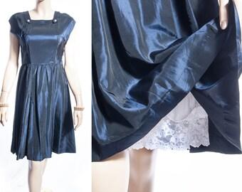 Authentic elegant midnight blue shiny rustly nylon acetate 1950's vintage metal side zip sleeveless flared skirt dress - DB212
