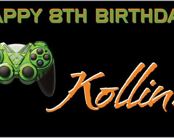 Custom Vinyl Video Game Birthday Party Banner Decorations with Child's Name
