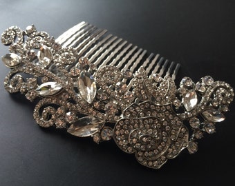 Wedding hair comb, Bridal hair comb, Silver vintage style hair accessory, rhinestones hair comb, crystals comb, flowers hair comb