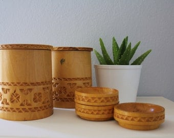 SALE 50 OFF Vintage Bamboo Containers with Coasters Hand Carved Engraved Bamboo Home Decor Summer