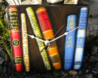Wall Clock // Books // Hand Painted // Trompe l'oeil // Beth Baker Artist // Home Decor