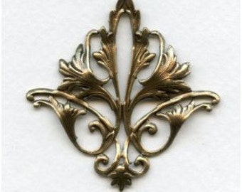 Exquisite Fleur di lis Shaped Stamping with Open Work,  Ornament, Pendant Embellishment  Ox  Brass  52x51mm, Splendid