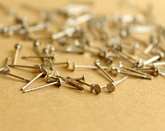 50 pc. Silver Plated Earring Posts, 3mm pad | FI-221