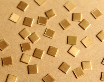 36 pc. Tiny Raw Brass Squares: 4.5mm by 4.5mm - made in USA | RB-839
