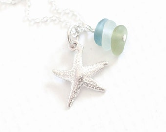 """Teal Sea Glass Necklace Starfish """"Sea Glass Jewelry"""" Summer Beach Glass Necklace"""