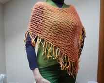 Poncho Scarf shawl wrap crochet knit Shawl orange mesh net fringe fishnet ooak neckwarmer handmade soft angora mohair wool openwork