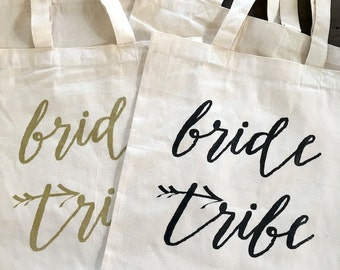 Bride Tribe -tote/bag GOLD INK Wedding/Wedding Party/Bach Party -cotton canvas/screen print/tote bag - Ready to Ship