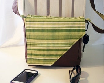 Green Stripe on Solid Brown and Green Messenger Style Canvas Purse