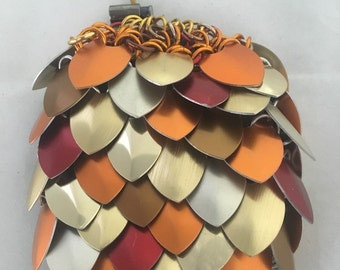 Authentic Fall Mix Modern Scale Maille (Scalemaille) Pouch/ Dice Bag includes small protective pouch. Many colors available.