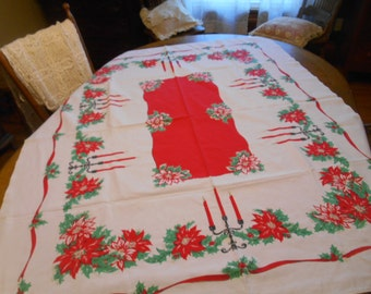 "Vintage Christmas Tablecloth  50"" x 60"""
