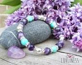 Truth Seeker, Amazonite & Amethyst Gemstone Mala Bracelet, Healing Reiki Energy, Yoga Jewelry, Chakra Bracelet, Heart and Crown Chakra