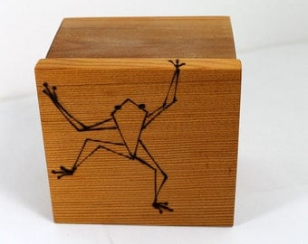 Business Card File Box with Tree Frog