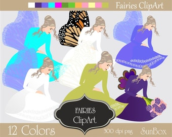 Fairy ClipArt, Fairies, Princess Clipart, Pink Purple Orange Yellow  12 ClipArt Images for cards, scrapbooking  - instant download - CU OK