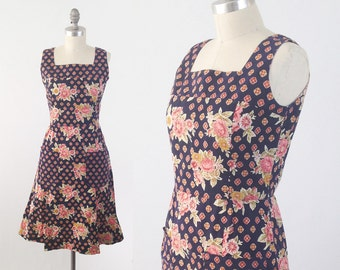 Vintage 60s 70s Prairie Dress - Sleeveless Floral Cotton Sundress - Navy Blue Festival Summer Dress - Size Medium to Small S/M