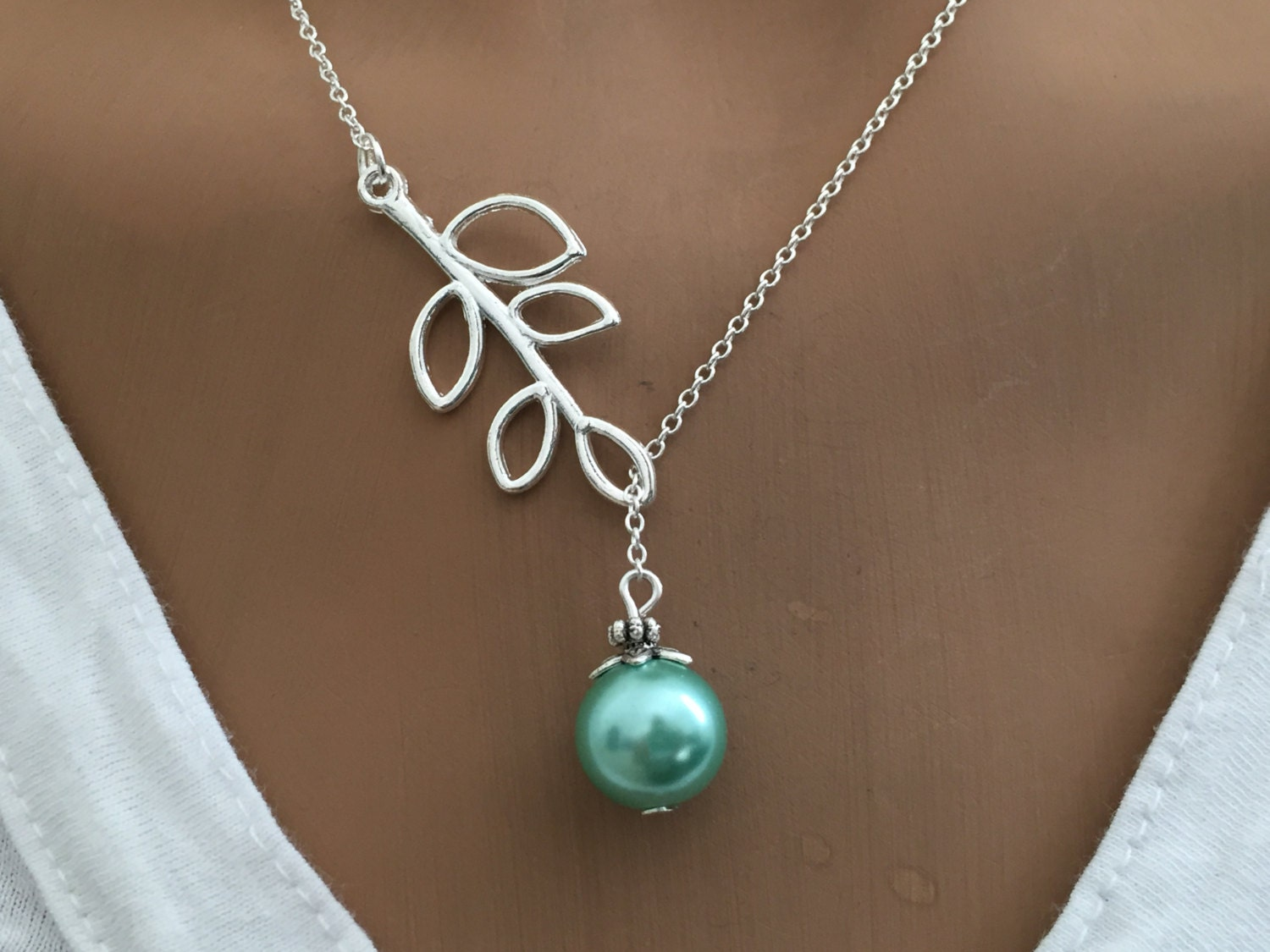 lariat style necklace pearl necklace gift