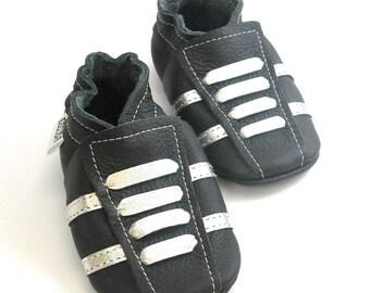 soft sole baby shoes leather infant sport black silver 2 3 bebes garcon fille cuir souple chaussons Krabbelschuhe porter ebooba SP-35-B-T-5
