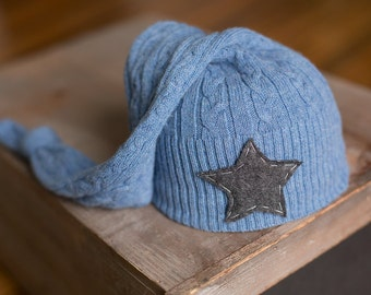 Upcycled Newborn Hat READY TO SHIP Blue Cable Knit with Gray Star Sleepy Time Stocking Hat Newborn Photography Prop Boys Hats Grey & Blue