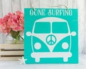 VW Bus Surf Sign - Nautical Beach Pallet Art - Gone Surfing Hawaiian Wood Sign
