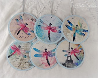 Dragonfly Gift Tags, Paris Tags, Collage Tags, Vintage Style Tags, Spring Tags - Set of 6