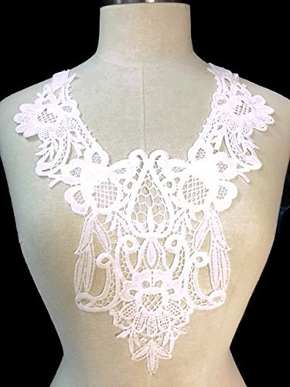 "2 Piece Off White Fringe Lace Applique Yoke  Western Bohemian Style 14/""x11/"""