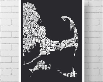 Cape Cod Map Print - Custom Cape Cod Typography Map with Towns, Various Colors, Type Map Art Print Poster