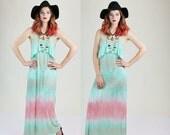 BLOWOUT SALE 50% OFF 1990s Pastel Cotton Candy Hippie Tie Dye Draped Maxi Dress