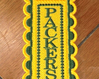 "Embroidered Bookmark  - ""Packers"""