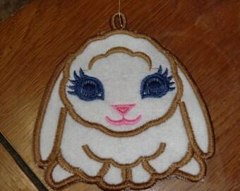 Embroidered Ornament - Easter - Felt Floppy Ear Bunny