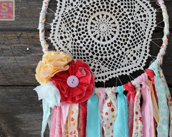 Cheerful, bright one of a kind boho fabric and doily dreamcatcher, red, pink, yellow, aqua, white, nursery bedroom decor, handmade flowers