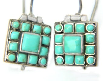 Turquoise Sterling Silver Earrings 925 Vintage Jewelry For Women Pierced French Wire Hinged Swivel Dangle Style Geometric Square Glass