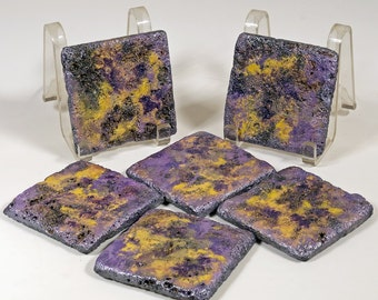 Natural Stone Coasters, Set of Six Decorative 4x4 Tiles Hand Painted Home Decor