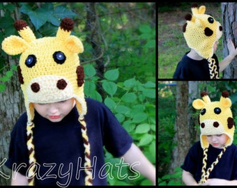 Giraffe.Crochet giraffe hat.ready to ship size:4-6y.old