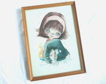 Kitsch child print - big eye child print- vintage Fellarde print - 1960s framed print - big eye girl framed print
